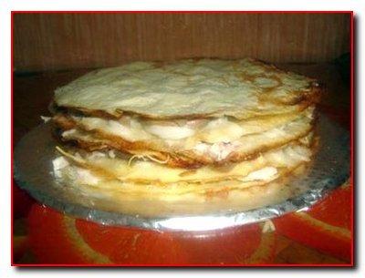 Блинный торт с шампиньонами и куриным филе