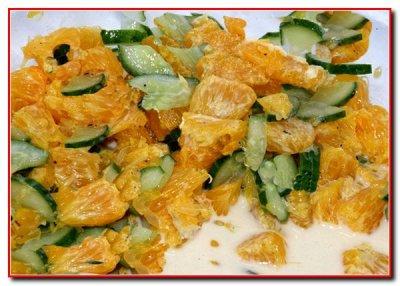 Салат из огурца,апельсина и абрикоса